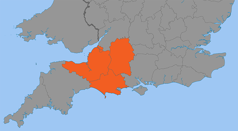 Map showing the areas of Somerset, Dorset,and Wiltshire